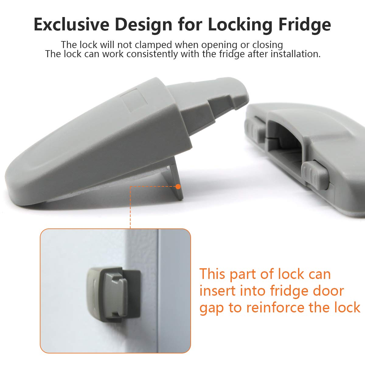 Latch Catch Toddler Kids Child Fridge Locks Baby Safety Child Lock 2 Pack, White Home Refrigerator Fridge Freezer Door Lock Easy to Install and Use 3M Adhesive no Tools Need or Drill