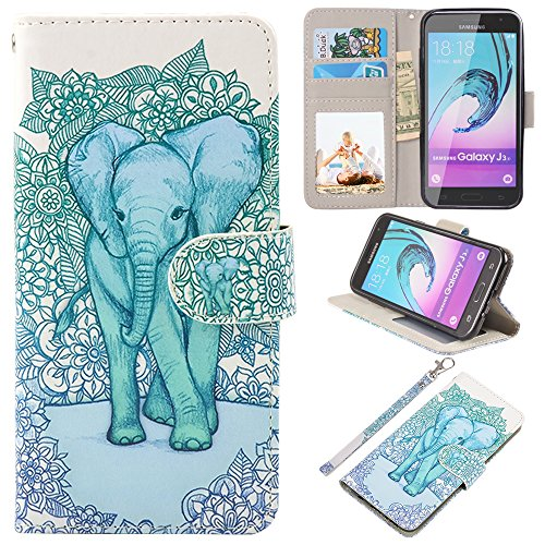 UrSpeedtekLive J3 (2016) Case, Galaxy Express Prime/Amp Prime Case, Premium PU Leather Wallet Case Cover w/Strap Card Slots Flip Magnetic Closer & Kickstand for Samsung Galaxy J3 (2016), Elephant