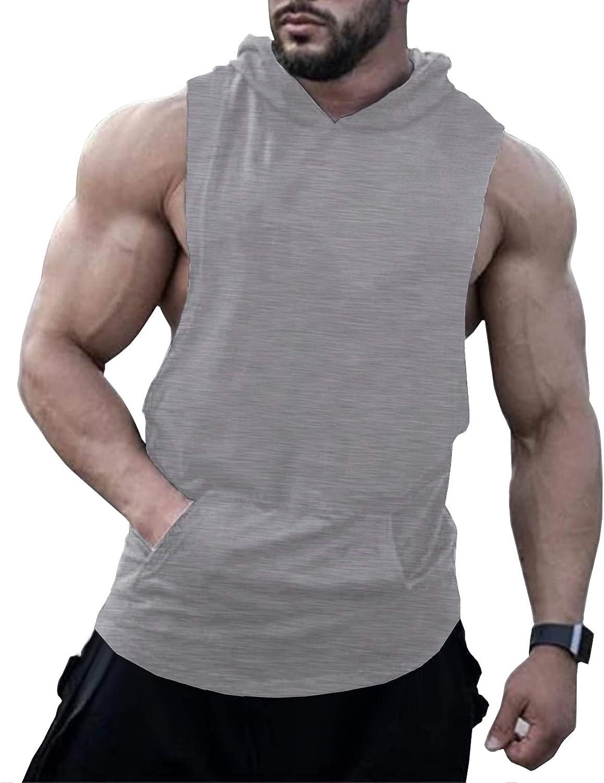 URRU Men's Hooded Tank Tops Workout Sleeveless Muscle Shirt with Kanga Pocket S-XXL: Clothing