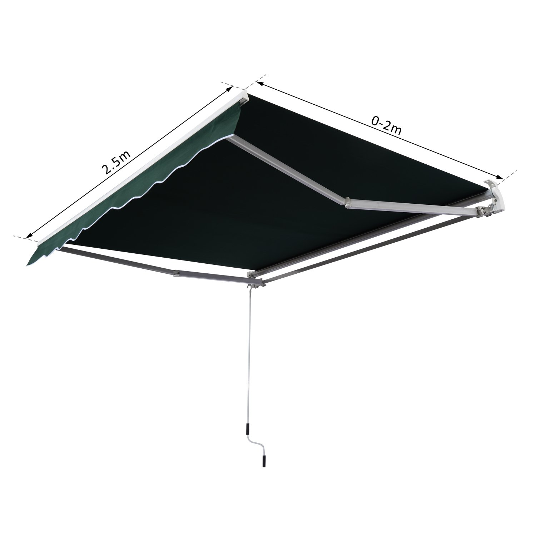 Outsunny Tenda da Sole Avvolgibile Manuale Esterno Tessuto di Poliestere 2.5 /× 2m Blu e Bianco