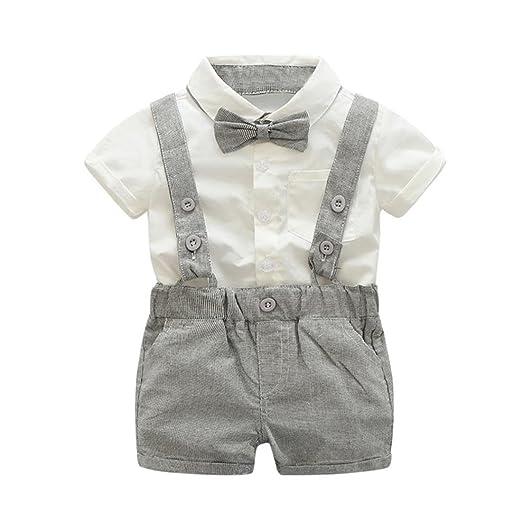 14da5fb45 Kehen Infant Toddler Baby Boys 2pcs Summer Outfits Gentleman Bowtie Short  Sleeve Shirt+Suspenders Shorts
