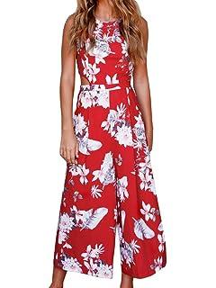 b23cb84ffce7 FANCYINN Women Floral Print Tie Back Long Jumpsuits Playsuit Wide Leg Pants