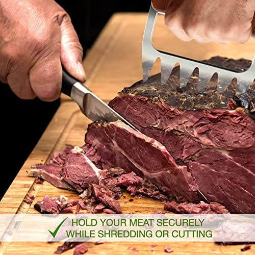 KUDES 2-in-1 Meat Shredding Claws,Stainless Steel Bear Paws Pulled Pork Shredder Fork with Non-Slip Handles for Kitchen or BBQ Shred Carve Lift Pork Beef,Turkey,Chicken red wood