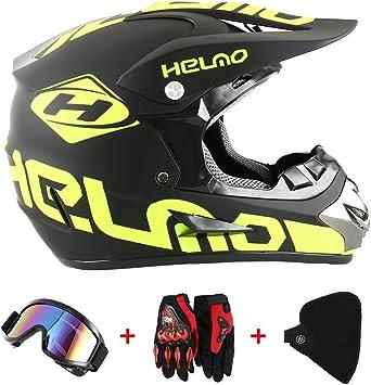 Motorradhelm Cross Helme Schutzhelm Motocross Helm Für Motorrad Crossbike Off Road Enduro Sport Mit Handschuhe Sturmmaske Und Brille 58 59cm Gelb Fluoreszenz Auto