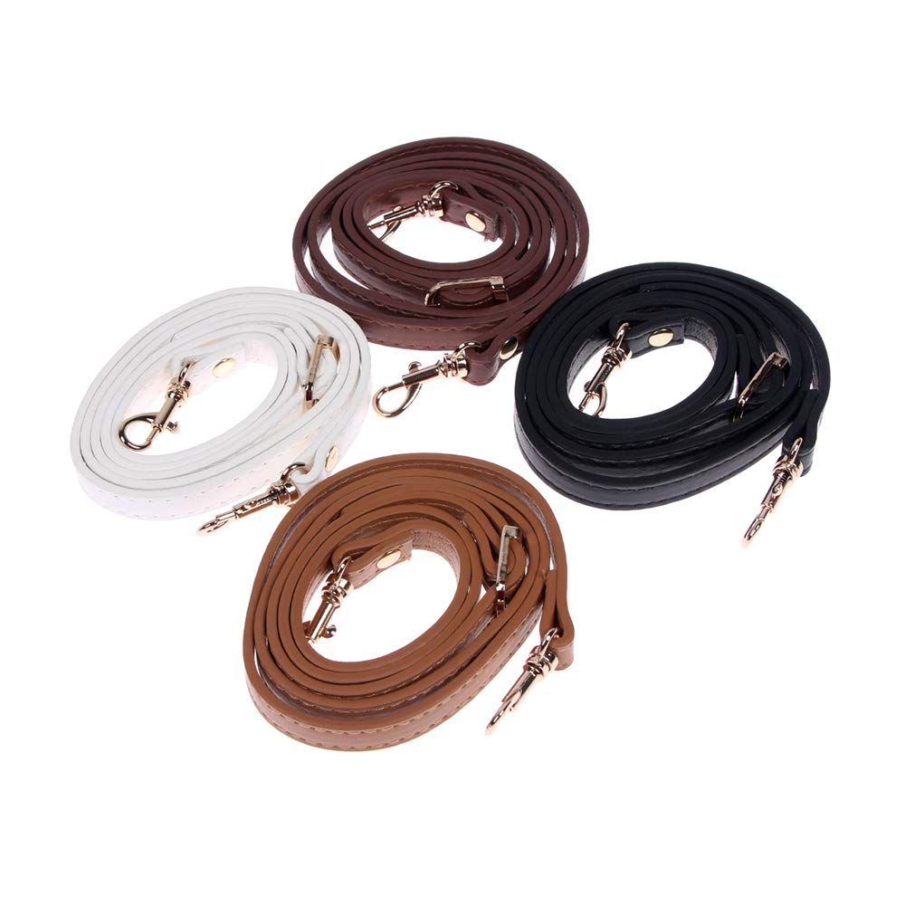 RAYNAG Adjustable Purse Strap Replacement Leather Handbag Shoulder Strap Replacement with Silver Metal Swivel Hooks Black