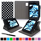 Kindle Fire HD 7 2014 Case, roocase Dual View 2014 Fire HD 7 Folio Case with Sleep / Wake Smart Cover with Multi-Viewing Stand for Amazon Kindle Fire HD 7 Tablet (4th Generation - 2014 Model), Polkadot Black