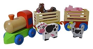 Nachziehtiere Holzspielzeug Pferd auf 4 Rädern Bauernhof