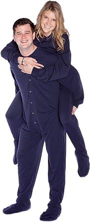 Big Feet Pyjama Co Cotone Jersey adulto Footed pigiama con la sede di goccia