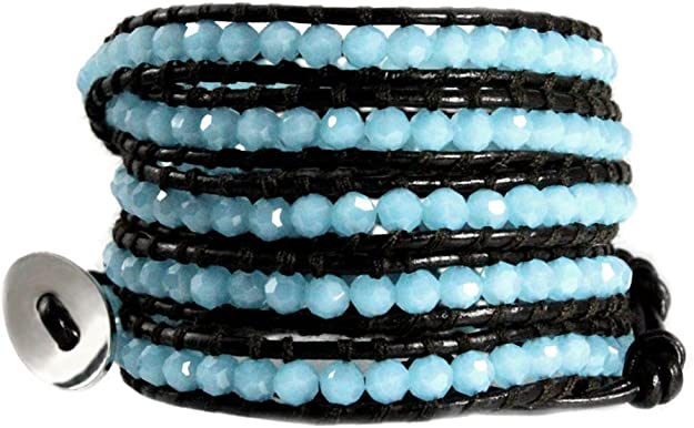 Slim Teal Blue Beaded Bracelet