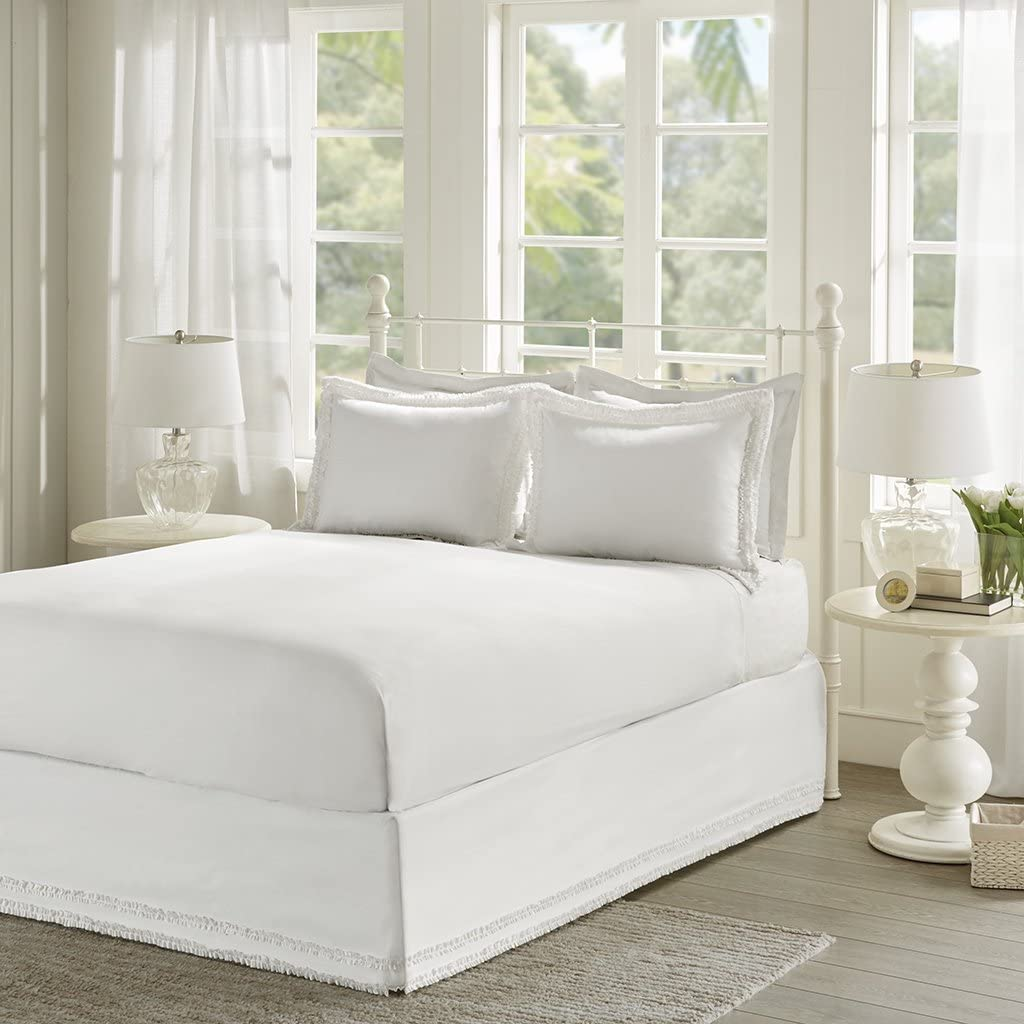 Cottage//Country Bed Sheets Queen Bed Sheets Set 3-Piece Includes 1 bedskirt and 2 coordinating shams Ruffled White Sheet Set