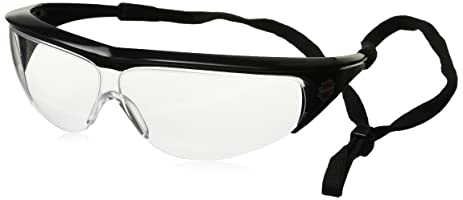 hd400 safety glasses with black frame and clear tint hardcoat lens