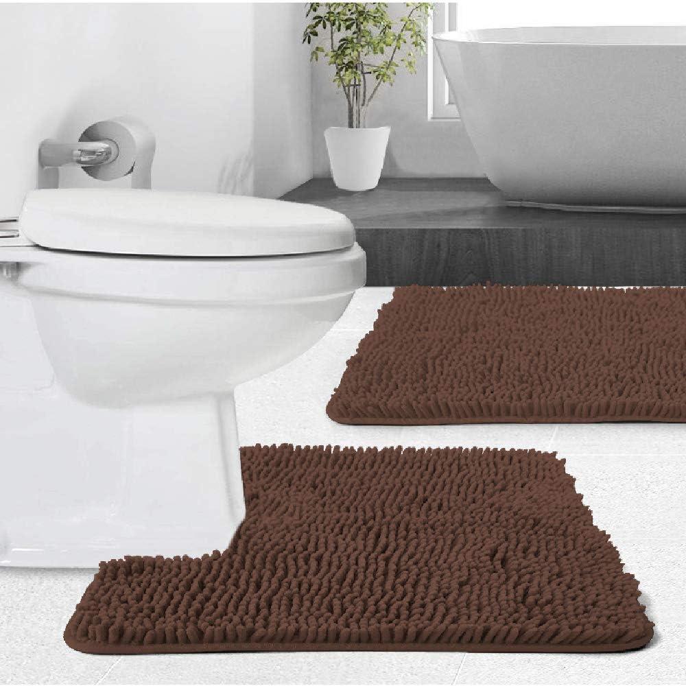 3 PCS Bathroom Mats Bath Toilet Set Floor Rug Non-Slip Pedestal 7 Colour #48