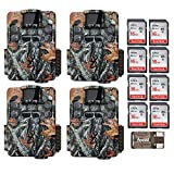 Four Browning Strike Force Pro XD Dual Lens 24MP Trail/Game Cameras with 8 16GB Cards and Focus USB Reader