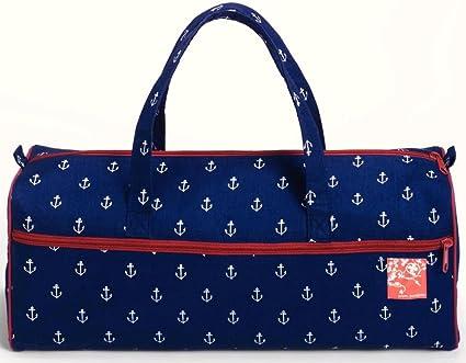 Prym – Anchor Marítimo Tejer y Bolsa de Costura con y Granate, algodón, Azul Marino/Blanco/Rojo