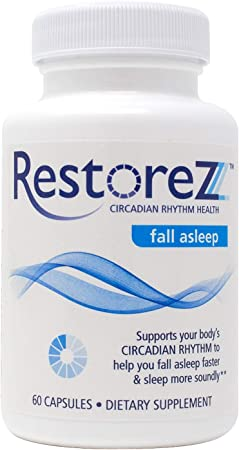 RestoreZ Fall Asleep (60 Capsules) Natural Sleep Supplement - Fall Asleep Faster and Support Improved Quality of Sleep - Non-Habit Forming Sleep Aid