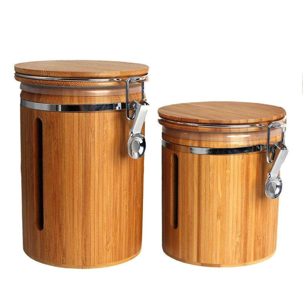 Wansu Bamboo Food Storage Jar Canister with Lids;Mediu+ Large