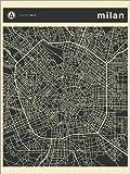 Poster 30 x 40 cm: MILAN CITY MAP di Jazzberry Blue - stampa artistica professionale, nuovo poster artistico