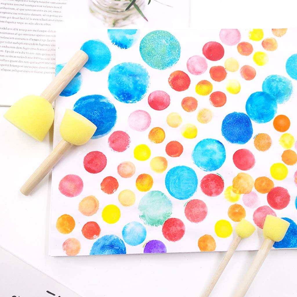 Yanhonin Juego de 4 Pinceles de Esponja con Mango de Madera Herramientas de Pintura Pincel de Dibujo de Arte de Grafiti