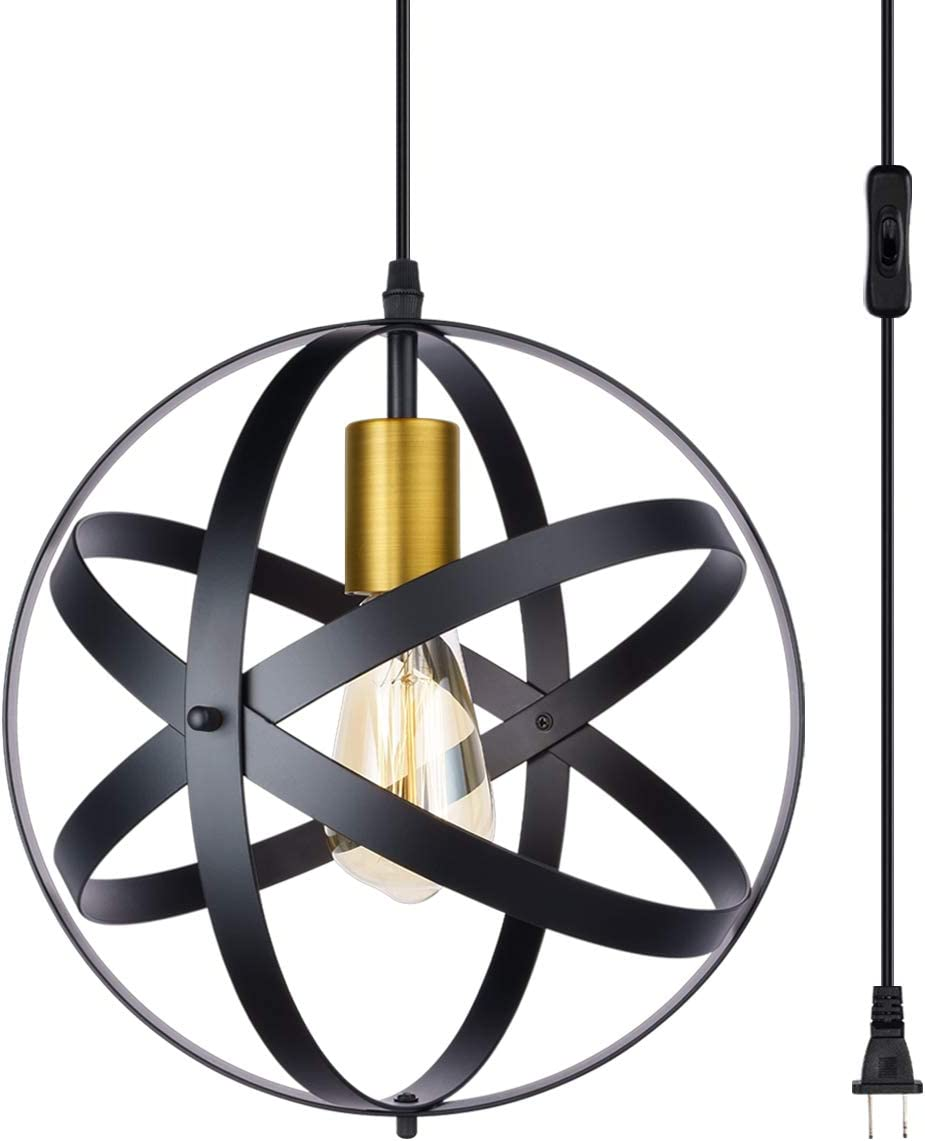 Industrial Pendant Light Fixture Plug-in Cord Pendant with On Off Switch,Retro Black Finish Metal Shade Hanging Light,Kitchen Ceiling Lamp, E26 Base,1-Light