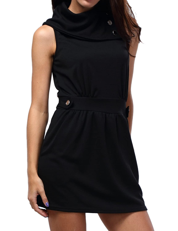 Bepei Damen Herbst Kleid Longpullover Longshirt Elastisch mit 2 Taschen , 3 Farben
