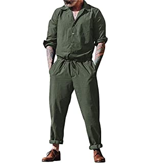 655e55f57cb lisenraIn Men s Long Sleeve Rompers One Piece Jumpsuit Plain Coverall with  Pockets
