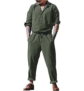 b50de07b656e lisenraIn Men s Long Sleeve Rompers One Piece Jumpsuit Plain Coverall with  Pockets