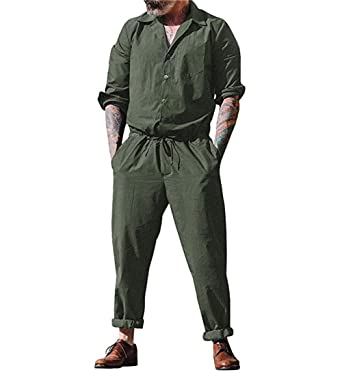 2cb988f50dc lisenraIn Men s Long Sleeve Rompers One Piece Jumpsuit Plain Coverall with  Pockets (Army Green