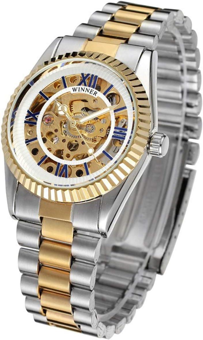 Winner Hombre Reloj de Pulsera mecánico automático, dial con diseño de X y Mecanismo Visible con Pulsera de Acero Inoxidable