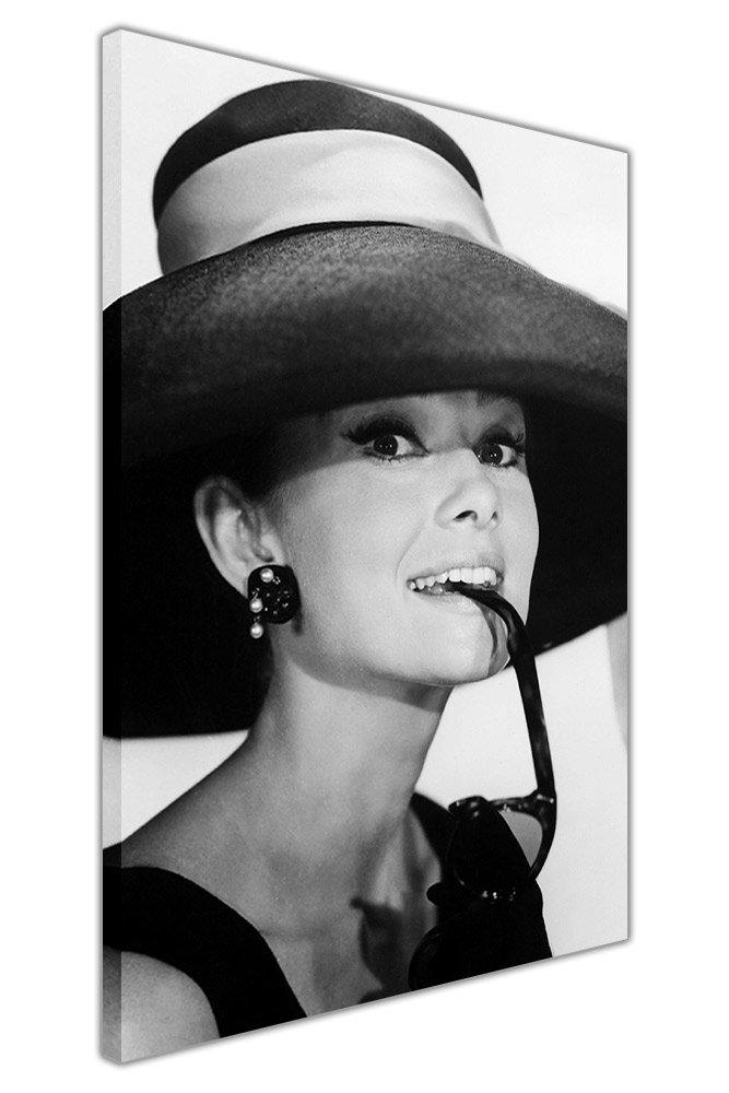 Canvas It Up Noir et blanc Audrey Hepburn avec lunettes de soleil encadrée sur toile Impressions d'art Home Deco emblématique images, noir/blanc, 03- A2-24