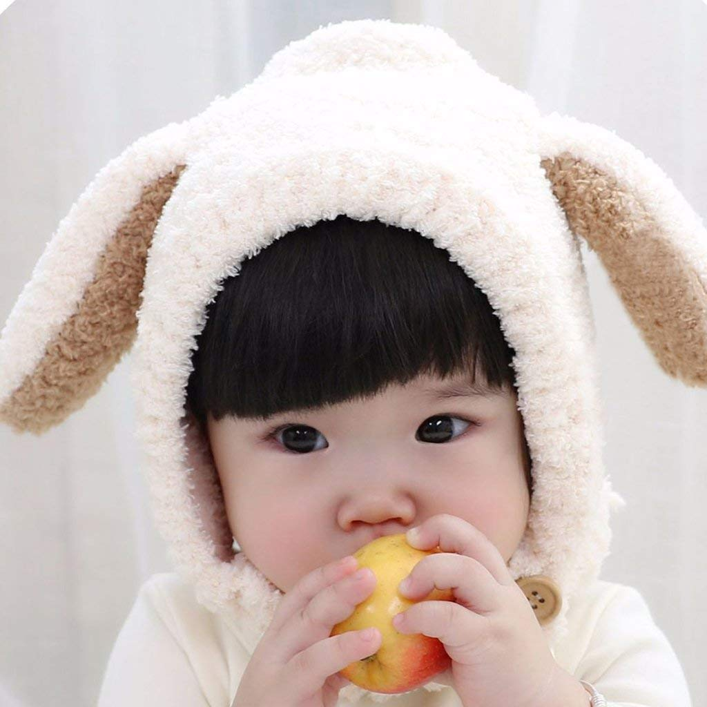 White SunnyClover 1 Pcs Infant Baby Cute Rabbit Long Ear Cap Winter Warm Thickening Hat for Kids Boy Girl
