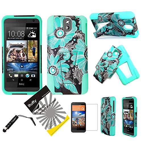 ITUFFY 3items Combo: LCD Screen Protector Film+Stylus Pen+ Dual Layer Impact Resistance Hybrid Armor Case /w Built-In KickStand (Blue Paisley Sun Flower - Mint Blue) ()
