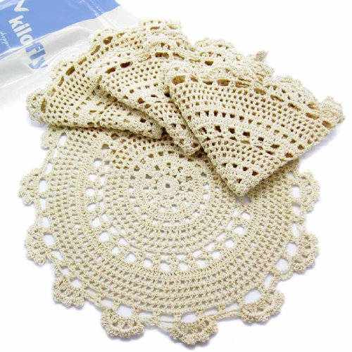 kilofly Handmade Crochet Round Cotton Lace Table Placemats Doilies Value Pack [Set of 4], Medallion, 13.3 x 13.0 inch, Beige ()