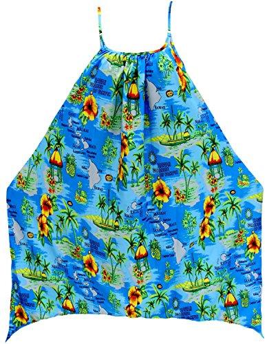 La Leela Frauen glatt Bademode Badeanzug-Bikinibadebekleidung lose Kleid  blau verschleiern