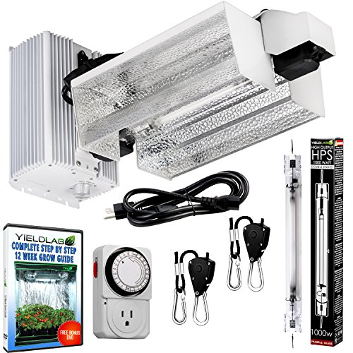 1000W HPS Double Ended Open Hood Grow Light Kit Easy Set Up Full Spectrum System For Indoor Plant And Hydroponics - Free Timer and 12 Week Grow Guide DVD ()