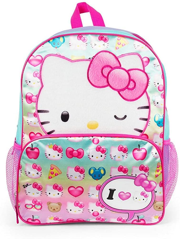 """HELLO KITTY BACKPACK TWO TONED PINK ARGYLE LARGE SCHOOL BAG SANRIO 16/"""" NWT"""