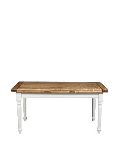 Biscottini L3904-BNT - Tavolo allungabile in legno massello di tiglio Stile  Country, struttura anticata e piano finitura naturale, 160 x 90 x 80 cm, ...