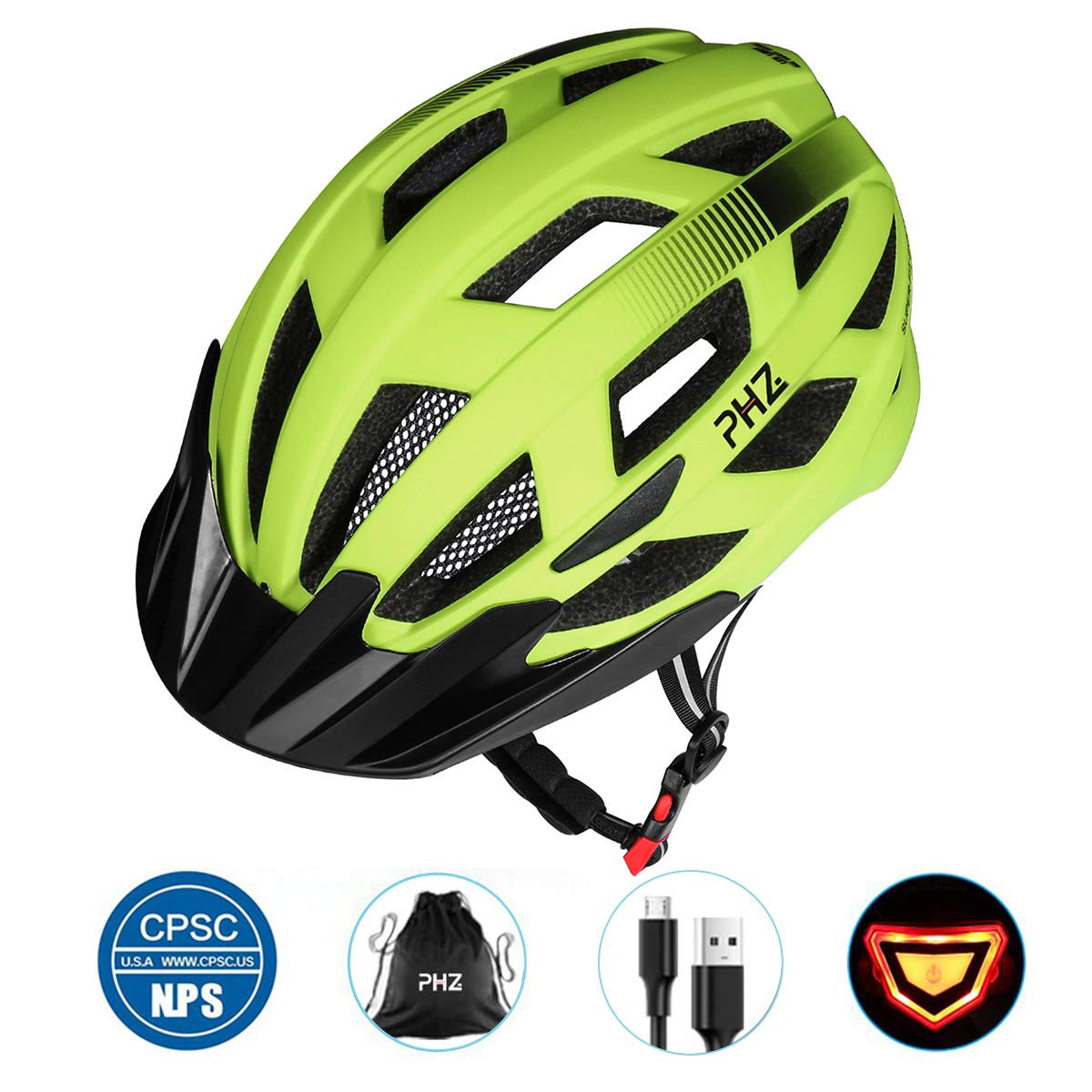 PHZ. Adult Bike Helmet CPSC Certified with Rechargeable USB Light, Bicycle Helmet for Men Women Road Cycling Mountain Biking with Detachable Visor