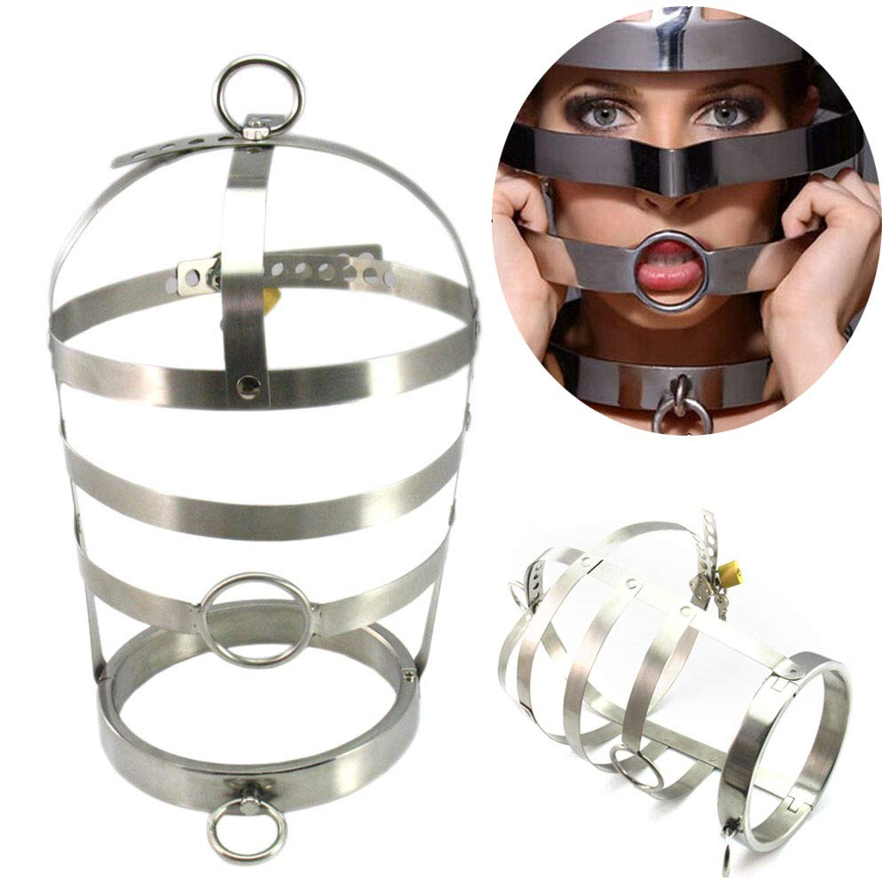 SM Head Cover Stainless Steel Headcover, Closed, Handcuffs, High Quality Bondage Mask Full Face Mask BDSM Adults Sex Toy,Metallic,Female by COSY-L