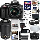 Nikon D3400 Digital SLR Camera & 18-55mm VR & 70-300mm DX AF-P Lenses 64GB Card + Case + Battery + Grip + Tripod + Filters + Tele/Wide Lens Kit