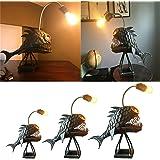 Creative Rustic USB Angler Fish Lamp Shark Lamp Handmade Unique Lamp LED Light Book Lights Angler Fish Light Table Lamps (M)