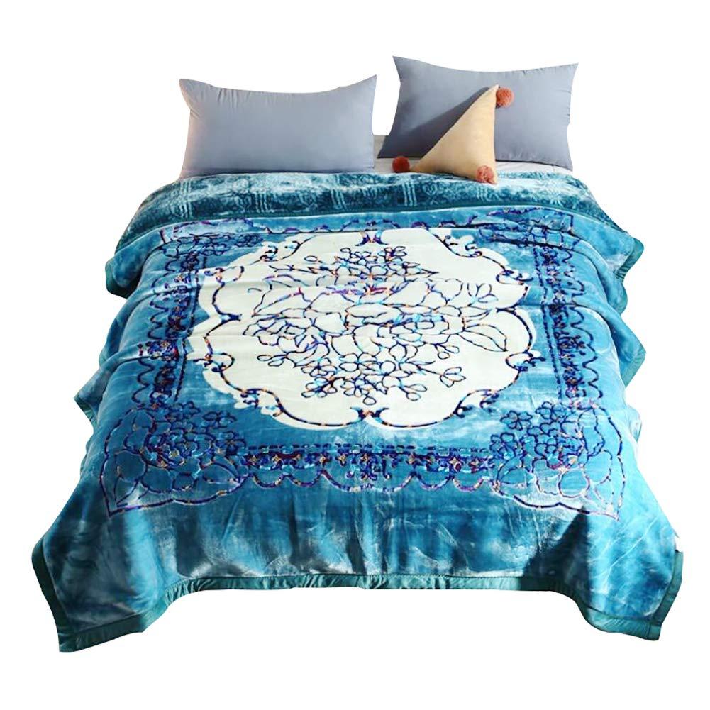 HSBAIS 大人のベッドブランケット 小さい毛布キングサイズ暖かい毛布フラネルの冬厚手のウォームウォッシャブル毛布結婚式ギフトベッドカバー,blue_200*230cm B07K75L7MX Blue 200*230cm