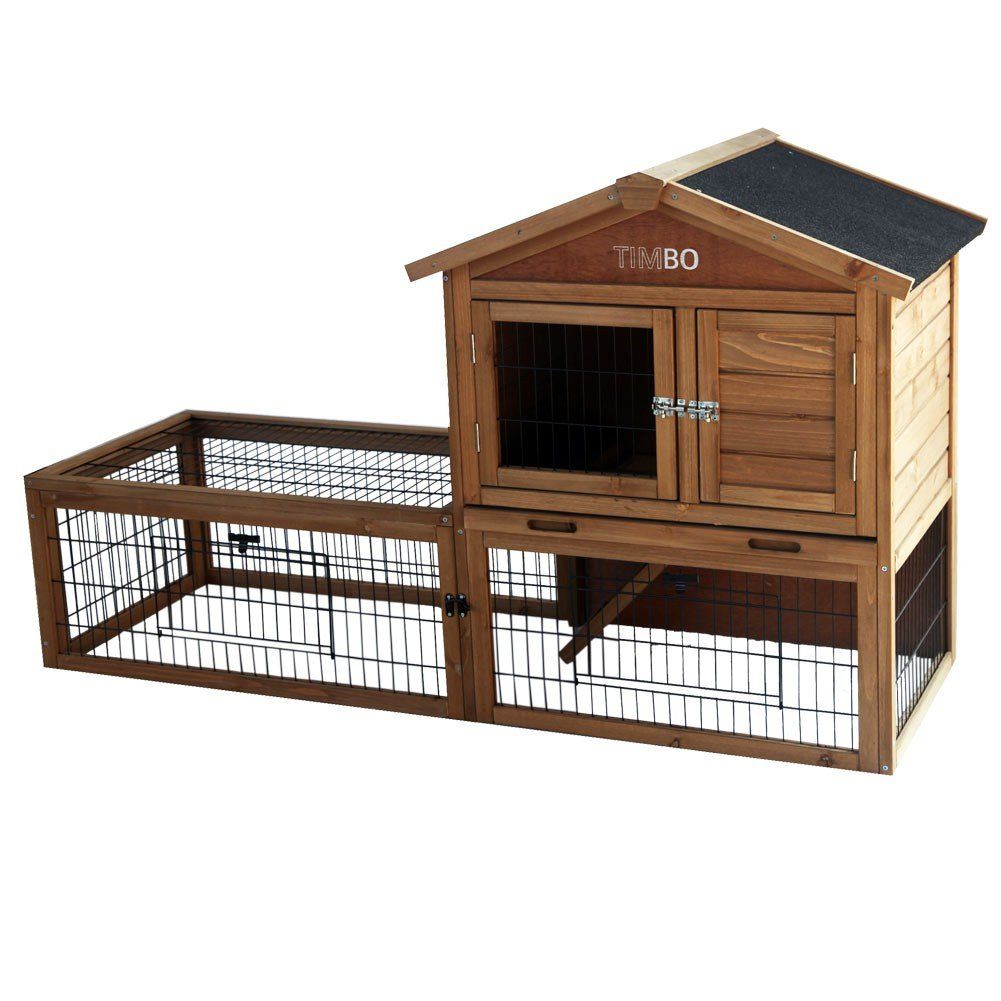 Rabbit Hutch Lilly 151x49x90 cm, Wooden Bunny Hutch and Run, Guinea Pig, Rabbit Cage
