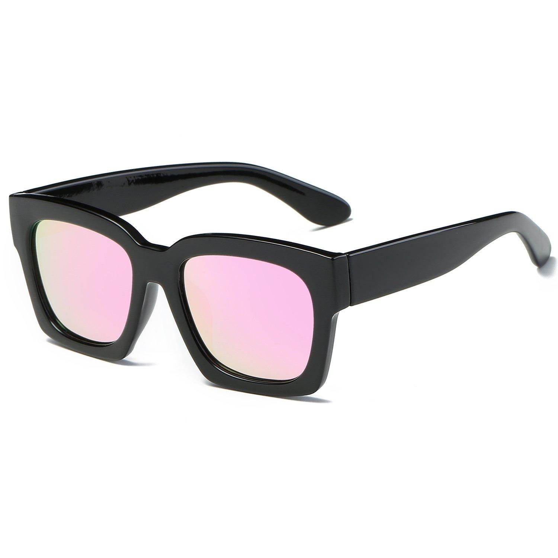 SojoS Gafas De Sol Mujeres Cuadrado Oversized Polarizadas UV400 SJ2027 Marco Negro/Lentes Rosadas: Amazon.es: Ropa y accesorios