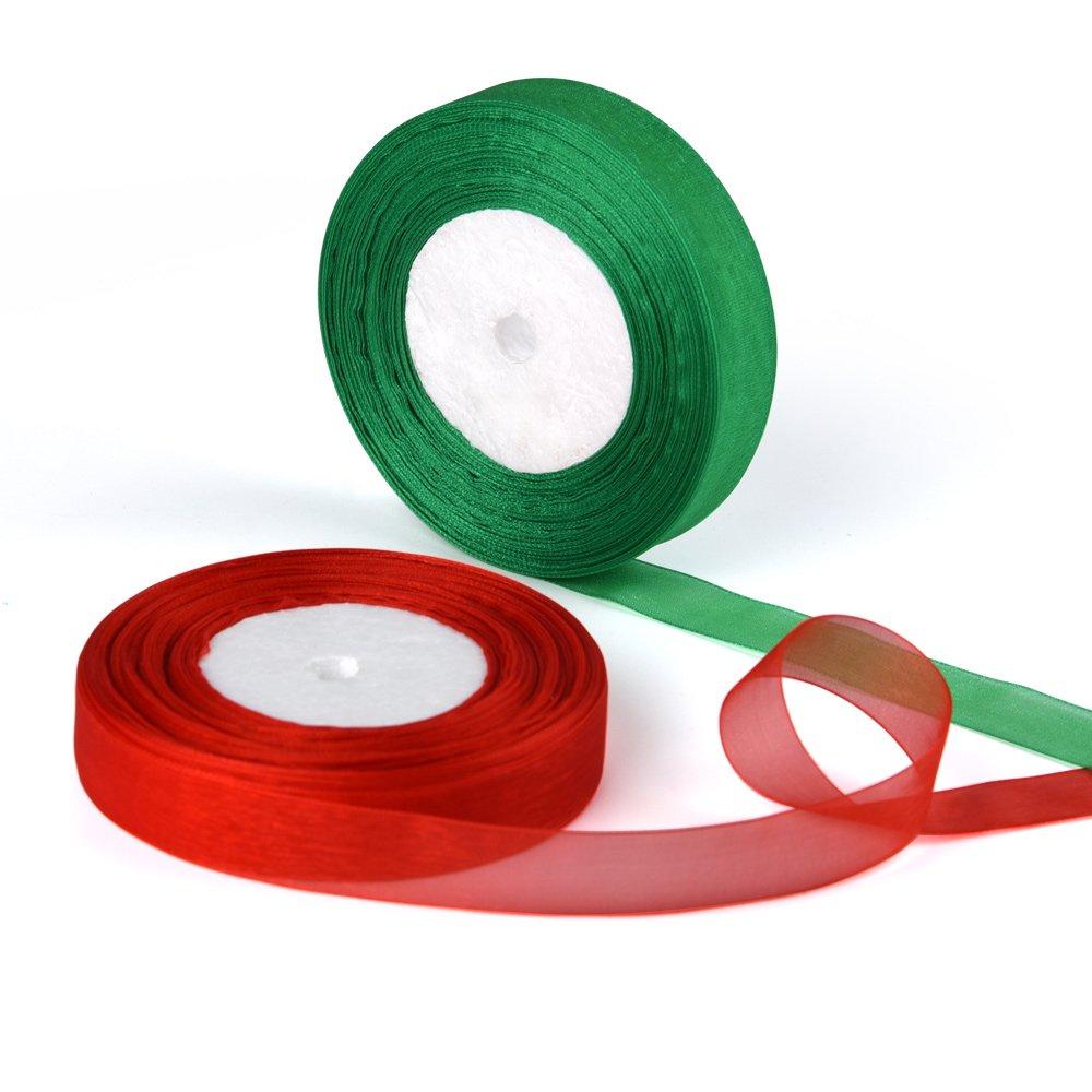 verde y rojo 50 yardas de largo 22 mm de ancho Kuuqa 2 Pack Cintas de organza Shimmer Sheer Ribbons para decoraciones navide/ñas