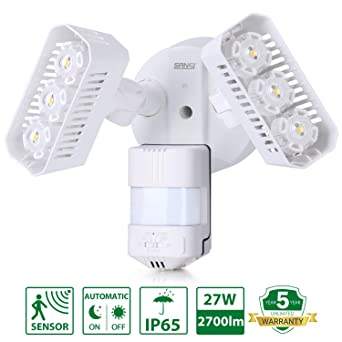 Sansi LED - Foco de exteriores, 180 ° sensor de movimiento crepuscular, 27 W