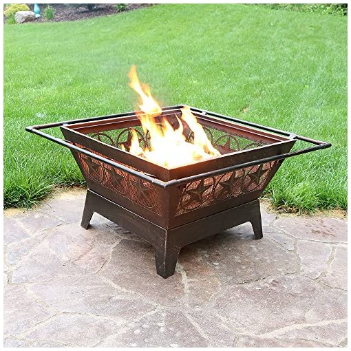 Fire Pits Sunnydaze Northern Galaxy Heavy-Duty Fire Pit – 32 Inch Steel Large Square Wood Burning Patio or Backyard Firepit… firepits