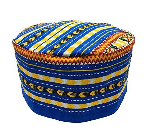 Vipada Handmade African Dashiki Hat Kente Pattern Kufi Kofi Hat Cap 3 (Blue with Yellow) ()