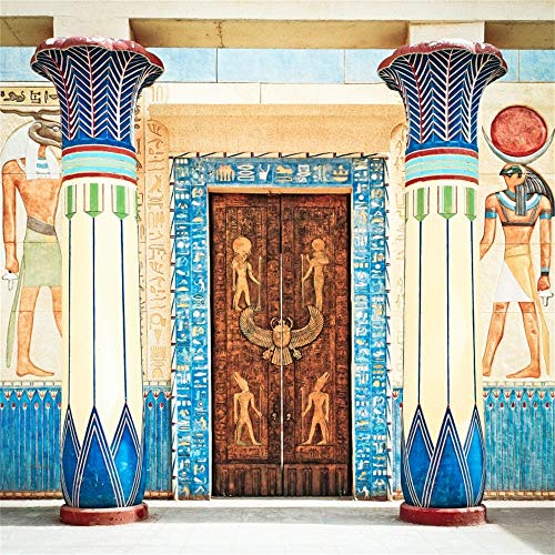 OFILA Antique Egyptian Papyrus Hieroglyph Backdrop 8x8ft Egyptian Art Photography Background Africa Ancient Civilization Archaeology Cairo Pharaoh Tomb Religion Soul Etemity Totem Photos Video Props ()