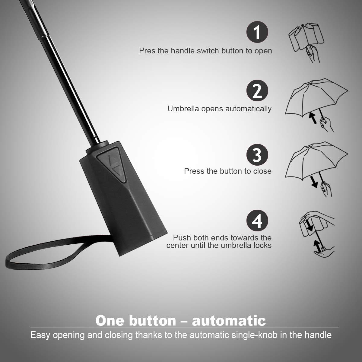 Speedsporting Paraguas de Viaje irrompible automático Compacto con 10 Varillas reforzadas, Resistente al Viento, de Secado rápido, de Acero Inoxidable: ...