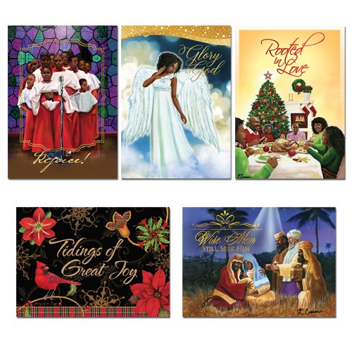 "Office Products : African American Expressions - Assorted Boxed Christmas Cards (15 cards, 5"" x 7"") A-707 (Includes: C-918, C-922, C-926, C-938, C-941)"